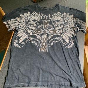 Affliction Distressed Skull Cross Shirt - Men's L